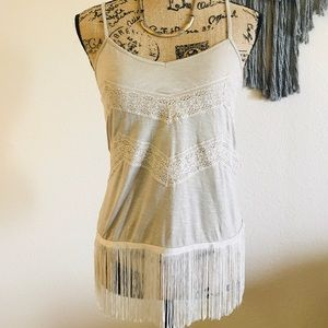 American Eagle Tan/Grey Fringe Lace Camisole